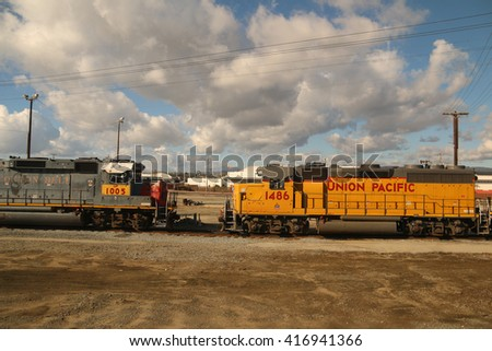 Los Angeles, California, USA - December 25, 2015: The Union Pacific Railroad is a freight hauling railroad with the largest network in the United States.