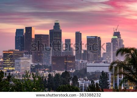 Los Angeles, California, USA downtown skyline. - stock photo