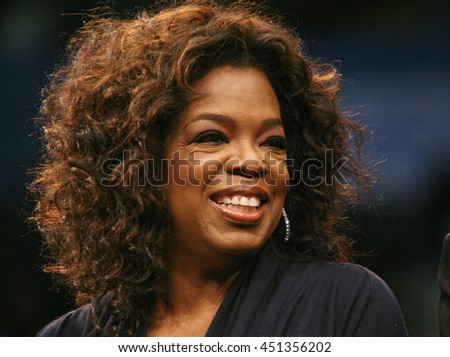 Los Angeles, California, USA; Feb 03, 2008; Oprah Winfrey campaigns for Democratic Presidential candidate Barack Obama at UCLA in Los Angeles, California. - stock photo