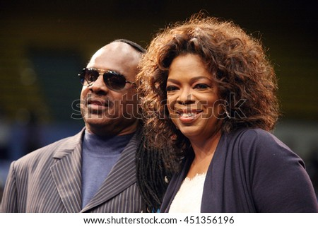 Los Angeles, California, USA; Feb 03, 2008; Stevie Wonder and Oprah Winfrey campaign for Democratic Presidential candidate Barack Obama at UCLA in Los Angeles, California. - stock photo