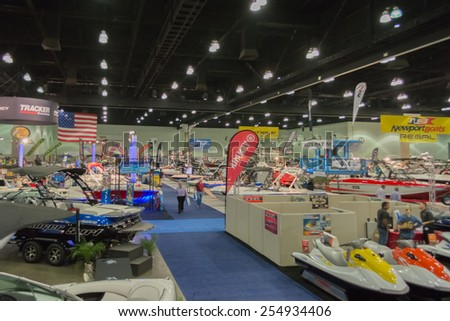 Los Angeles, California, USA - February 19, 2015 - Boats on display at the Progressive Los Angeles Boat Show in L.A. Convention Center.