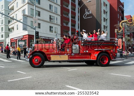 Los Angeles, California, USA - February 21, 2015 - Vintage fire truck at 116th Annual Golden Dragon Parade, celebrating the year of the ram in Chinatown Los Angeles.