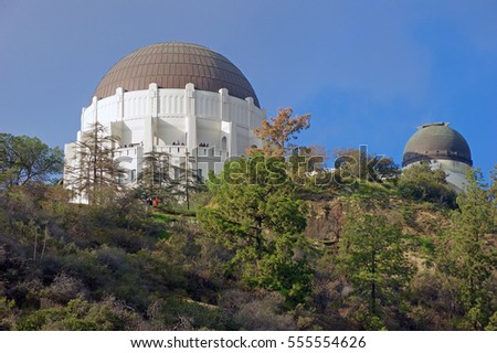 LOS ANGELES, CALIFORNIA/USA - JAN 1, 2017: The Griffith Observatory a popular tourist attraction on Mount Hollywood with extensive space and science-related displays. Los Angeles, California, USA.
