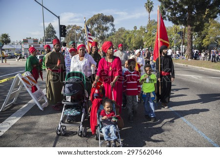 Los Angeles, California, USA, January 19, 2015, 30th annual Martin Luther King Jr. Kingdom Day Parade, African American Muslims - stock photo
