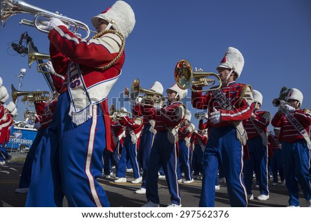 Los Angeles, California, USA, January 19, 2015, 30th annual Martin Luther King Jr. Kingdom Day Parade, LA all district marching band and trumpets - stock photo
