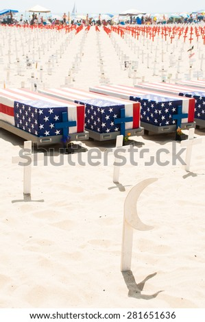 Los Angeles, California, USA - July 4, 2011. Los Angeles beach goers are reminded about sacrifices for independence by memorial in Santa Monica beach on 4th of July, California