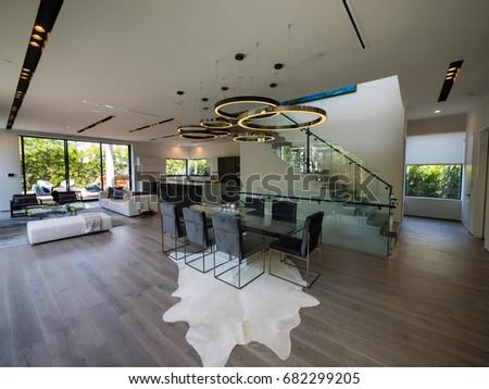Los Angeles, California USA. July 17, 2017. New Construction Modern Home  Interior