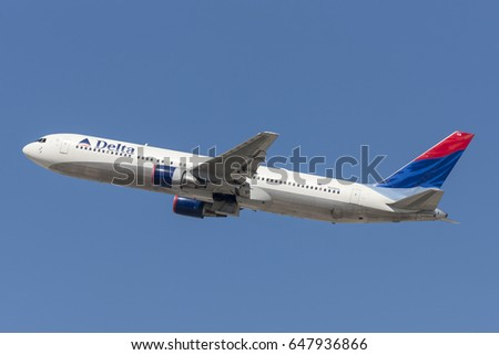 Los Angeles, California, USA - March 10, 2010: Delta Air Lines Boeing 767 aircraft taking off from Los Angeles International Airport.