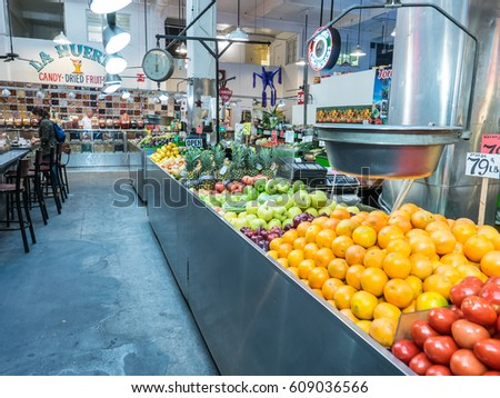 Los Angeles, California, USA, March 01, 2017: Grand Central Market