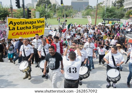 Los Angeles, California, USA - March 22, 2015 - Relatives of the 43 students who disappeared in Mexico packed the streets of downtown Los Angeles to bring attention to their cause and seek support.
