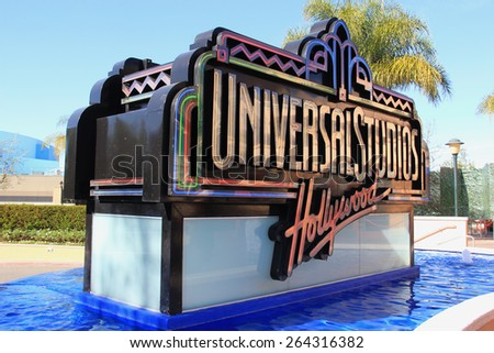 Los Angeles, California, USA - March 12, 2015: Universal Studios Hollywood, the Entertainment Capital of LA, is the first film studio and theme park of Universal Studios Theme Parks across the world. - stock photo