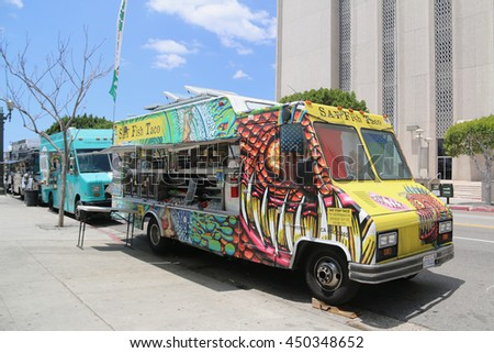 Los Angeles, California, USA - May 22, 2016: Food truck, a large vehicle equipped to cook and sell food, offers gourmet cuisine and a variety of specialties and ethnic menus.