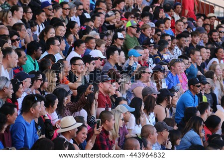 Los Angeles, California, USA - November 22, 2015: Crowd are watching Water World Show at Universal Studios Hollywood.
