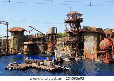 Los Angeles, California, USA - October 10, 2014: The Scene of a 20-minute water stunt show called Waterworld: A Live Sea War Spectacular at Universal Studios Hollywood - stock photo