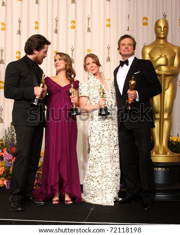 LOS ANGELES - 27:  Christian Bale, Natalie Portman, Melissa Leo, Colin Firth in the Press Room at the 83rd Academy Awards at Kodak Theater, Hollywood & Highland on February 27, 2011 in Los Angeles, CA - stock photo