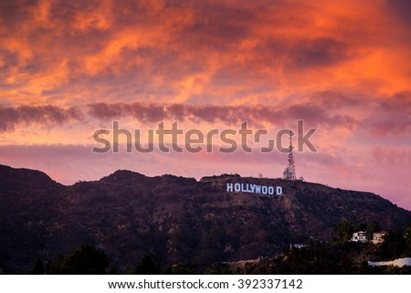 LOS ANGELES- Circa 2015: Distant view of Hollywood Sign on Mount Lee at sunset.