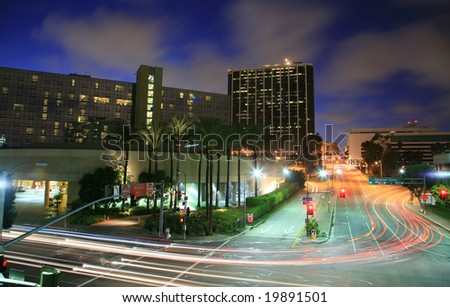Los Angeles city busy intersection at night - stock photo