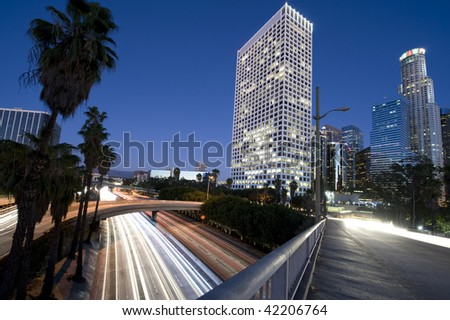 Los Angeles city lights at night - stock photo