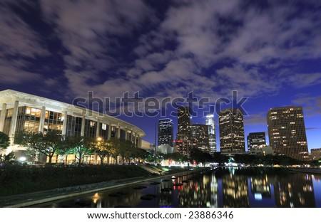 Los Angeles city skyline at night - stock photo