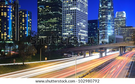 Los Angeles city traffic at night - stock photo