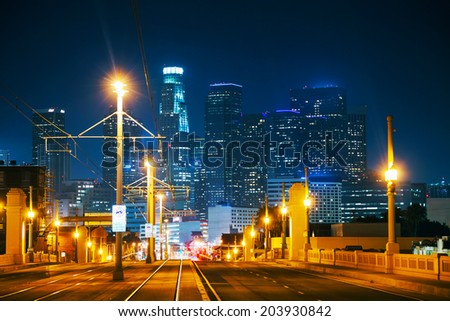 Los Angeles cityscape at the night time - stock photo