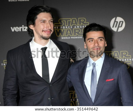LOS ANGELES - DEC 14:  Adam Driver, Oscar Isaac at the Star Wars: The Force Awakens World Premiere at the Hollywood & Highland on December 14, 2015 in Los Angeles, CA - stock photo