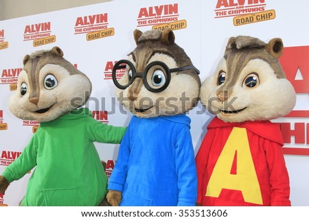 "LOS ANGELES - DEC 12:  Alvin and The Chipmunks at the ""Alvin And The Chipmunks: The Road Chip"" Los Angeles Premiere at the Zanuck Theater, 20th Century Fox Lot on December 12, 2015 in Los Angeles, CA - stock photo"