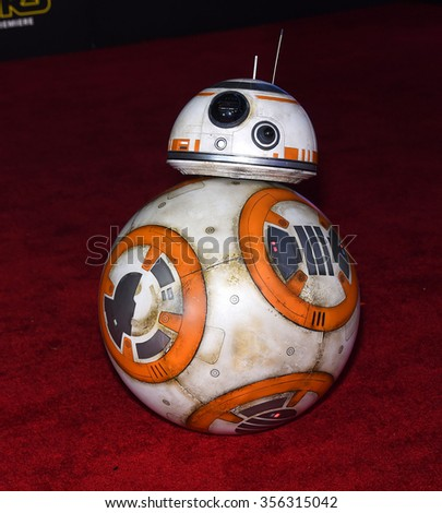 "LOS ANGELES - DEC 14:  BB-8 arrives to the ""Star Wars: The Force Awakens"" World Premiere  on December 14, 2015 in Hollywood, CA.                 - stock photo"