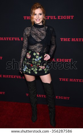 """LOS ANGELES - DEC 07:  Bella Thorne arrives to the """"The Hateful Eight"""" Los Angeles Premiere  on December 07, 2015 in Hollywood, CA.                 - stock photo"""