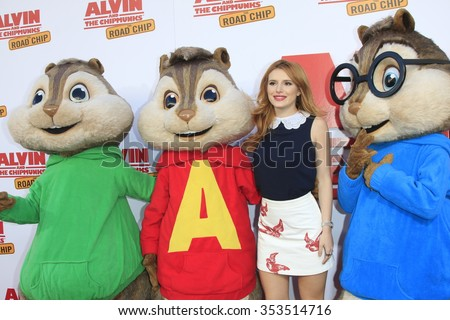 """LOS ANGELES - DEC 12:  Bella Thorne  at the """"Alvin And The Chipmunks: The Road Chip"""" Los Angeles Premiere at the Zanuck Theater, 20th Century Fox Lot on December 12, 2015 in Los Angeles, CA - stock photo"""