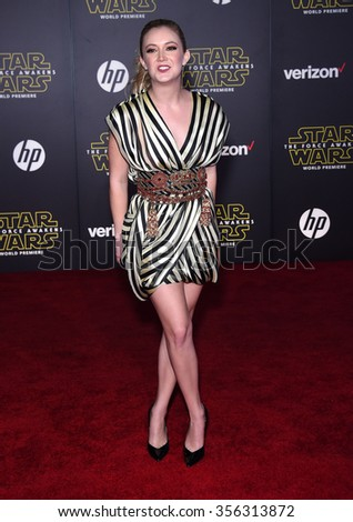 "LOS ANGELES - DEC 14:  Billie Lourd arrives to the ""Star Wars: The Force Awakens"" World Premiere  on December 14, 2015 in Hollywood, CA.                 - stock photo"