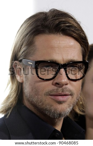 """LOS ANGELES - DEC 8:  Brad Pitt arrives at the """"In the Land of Blood and Honey"""" LA Premiere at ArcLight Cinemas on December 8, 2011 in Los Angeles, CA - stock photo"""