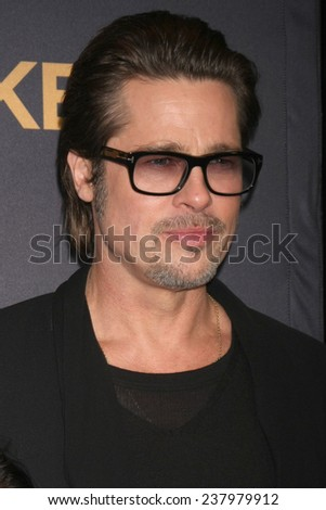 """LOS ANGELES - DEC 15:  Brad Pitt at the """"Unbroken"""" - Los Angeles Premiere at the Dolby Theater on December 15, 2014 in Los Angeles, CA - stock photo"""