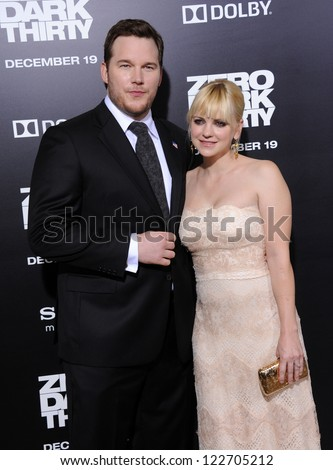 "LOS ANGELES - DEC 19:  Chris Pratt & Anna Faris arrives to ""Zero Dark Thirty"" LA Premiere  on December 19,2012 in Hollywood, CA - stock photo"