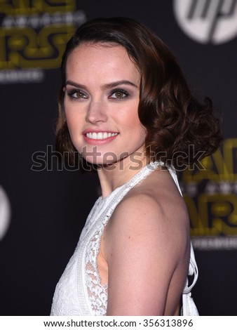 "LOS ANGELES - DEC 14:  Daisy Ridley arrives to the ""Star Wars: The Force Awakens"" World Premiere  on December 14, 2015 in Hollywood, CA.                 - stock photo"