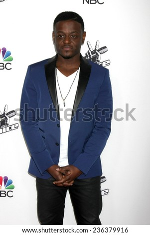 """LOS ANGELES - DEC 8:  Damien Lawson at the NBC's """"The Voice"""" Season 7 Red Carpet Event at the HYDE Sunset: Kitchen + Cocktails on December 8, 2014 in West Hollywood, CA - stock photo"""