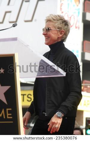 LOS ANGELES - DEC 4:  Ellen DeGeneres at the Pharrell Williams Hollywood Walk of Fame Star Ceremony at the W Hotel Hollywood on December 4, 2014 in Los Angeles, CA - stock photo