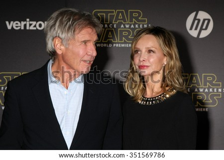 LOS ANGELES - DEC 14:  Harrison Ford, Calista Flockhart at the Star Wars: The Force Awakens World Premiere at the Hollywood & Highland on December 14, 2015 in Los Angeles, CA - stock photo