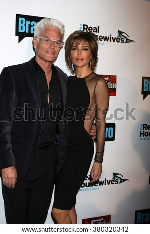 LOS ANGELES - DEC 3:  Harry Hamlin, Lisa Rinna at the The Real Housewives of Beverly Hills Premiere Red Carpet 2015 at the W Hotel Hollywood on December 3, 2015 in Los Angeles, CA - stock photo