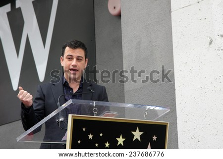 LOS ANGELES - DEC 11:  Jimmy Kimmel at the Don Mischer Star on the Hollywood Walk of Fame at the Hollywood Boulevard on December 11, 2014 in Los Angeles, CA - stock photo