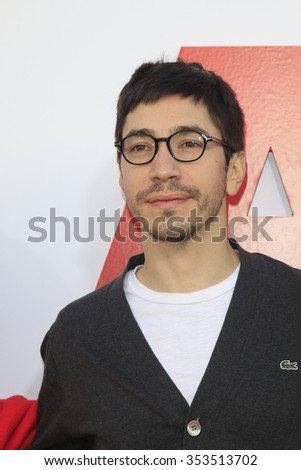 "LOS ANGELES - DEC 12:  Justin Long at the ""Alvin And The Chipmunks: The Road Chip"" Los Angeles Premiere at the Zanuck Theater, 20th Century Fox Lot on December 12, 2015 in Los Angeles, CA - stock photo"