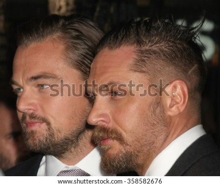 "LOS ANGELES - DEC 16:  Leonardo DiCaprio, Tom Hardy at the ""The Revenant"" at the TCL Chinese Theater on December 16, 2015 in Los Angeles, CA"