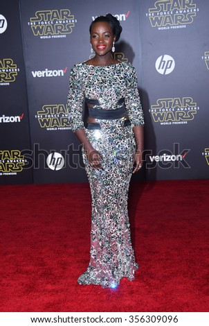 "LOS ANGELES - DEC 14:  Lupita Nyong'o arrives to the ""Star Wars: The Force Awakens"" World Premiere  on December 14, 2015 in Hollywood, CA.                 - stock photo"