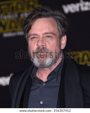 "LOS ANGELES - DEC 14:  Mark Hamill arrives to the ""Star Wars: The Force Awakens"" World Premiere  on December 14, 2015 in Hollywood, CA.                 - stock photo"
