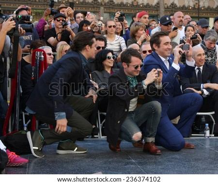 LOS ANGELES - DEC 8:  Orlando Bloom, Elijah Wood, Lee Pace at the Peter Jackson Hollywood Walk of Fame Ceremony at the Dolby Theater on December 8, 2014 in Los Angeles, CA - stock photo