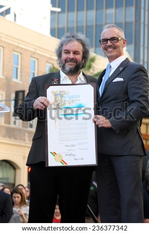 LOS ANGELES - DEC 8:  Peter Jackson, Mitch O'Farrell at the Peter Jackson Hollywood Walk of Fame Ceremony at the Dolby Theater on December 8, 2014 in Los Angeles, CA - stock photo