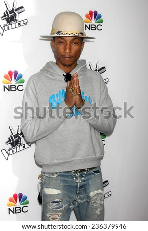 "LOS ANGELES - DEC 8:  Pharrell Williams at the NBC's ""The Voice"" Season 7 Red Carpet Event at the HYDE Sunset: Kitchen + Cocktails on December 8, 2014 in West Hollywood, CA - stock photo"
