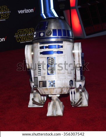 "LOS ANGELES - DEC 14:  R2D2 arrives to the ""Star Wars: The Force Awakens"" World Premiere  on December 14, 2015 in Hollywood, CA.                 - stock photo"
