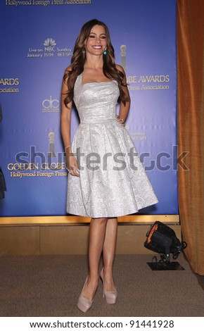 LOS ANGELES - DEC 14:  Sofia Vergara announcing the Golden Globe Awards 2012 Nominations  on December 14, 2011 in Beverly Hills, CA. - stock photo
