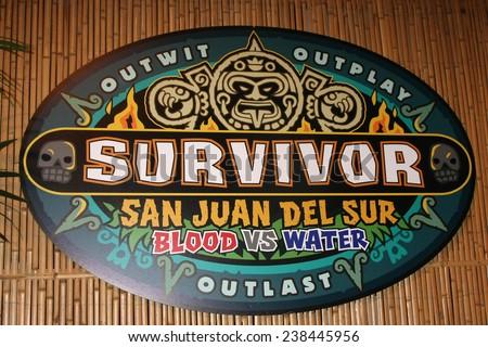 """LOS ANGELES - DEC 17:  Survivor San Juan Del Sur Emblem at the """"Survivor: San Juan Del Sur"""" Finale at the CBS Television City on December 17, 2014 in Los Angeles, CA - stock photo"""